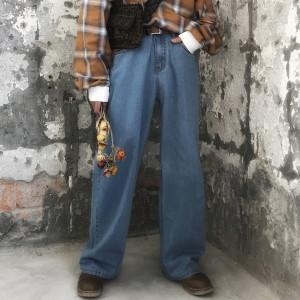 C2 gốc 90 của retro old school cha loose thẳng hoang dã rửa jeans nam giới và phụ nữ triều