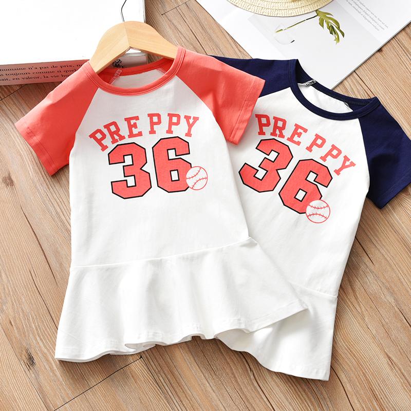 Cô gái ăn mặc 2018 mùa hè mới Hàn Quốc phiên bản của bông T-Shirt công chúa váy trong trẻ em của thể thao ngắn tay váy