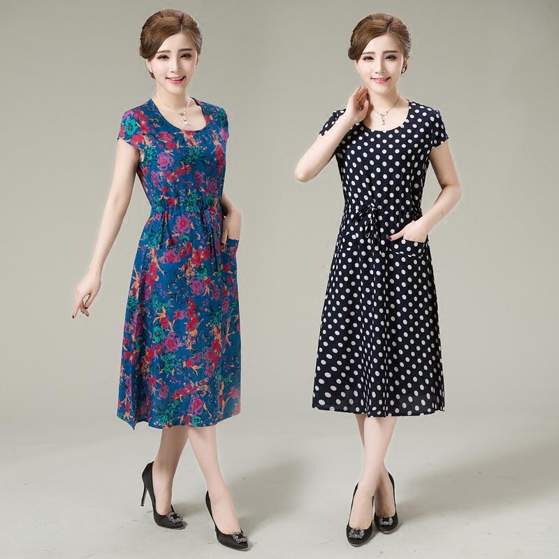 2018 mùa hè mới trung niên phụ nữ ăn mặc bông lụa phần dài hoa kích thước lớn mẹ váy dài váy