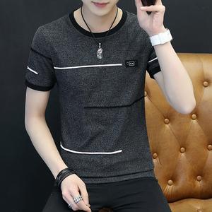 短袖t恤男夏季薄款港风圆领短T打底衫韩版潮流上衣修身半袖体恤衫