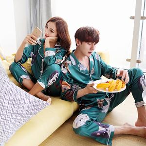 Phim hoạt hình mèo và con chó vài bộ đồ ngủ lụa nam giới và phụ nữ mô hình mùa xuân và mùa thu dễ thương áo sơ mi giản dị dịch vụ nhà Hàn Quốc phiên bản của băng lụa phù hợp với