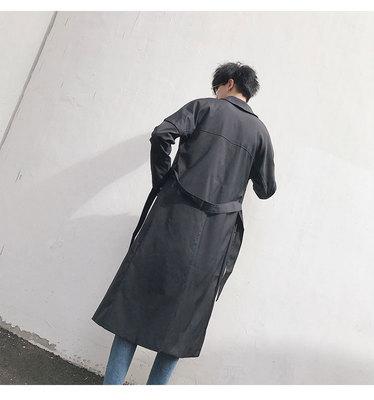 Dài áo gió nam siêu dài áo Hàn Quốc phiên bản của tự trồng phù hợp với cổ áo mà không cần khóa áo gió màu đen thanh niên quân đội áo Áo gió
