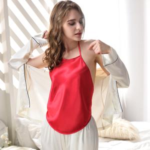 Lụa đồ ngủ túi màu rắn mảnh duy nhất ladies cổ điển tòa lụa sexy tạp dề đồ lót màu đỏ dành cho người lớn bộ