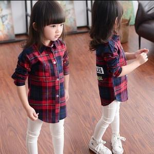 Cô gái dài tay áo 2018 mùa thu 13-year-old cô gái Hàn Quốc kẻ sọc áo sơ mi hoang dã lớn trẻ em mùa thu áo khoác