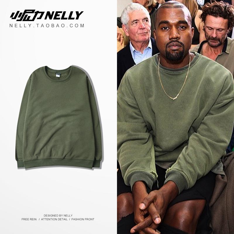 Hip-hop lỏng áo len bìa mùa thu cao đường phố bến cảng gió retro loose cotton vòng cổ dài tay t-shirt những người yêu thích nam giới và phụ nữ