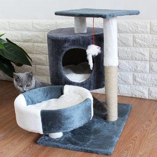 Товары для кошек удерживающий тепло Рама для лазания для кошек, наполнитель для кошачьего туалета, дерево для кошек, массив дерева, один маленький домик на дереве, кошачьи царапины панель Сканирующая сеть красный вилла
