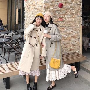 冬季女装韩版中长款牛角扣夹棉毛呢