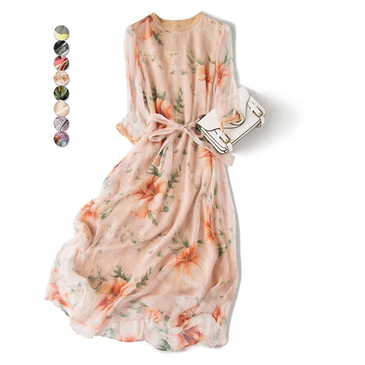Mùa hè mới dâu lụa dài tay dài váy dài lau phần vành đai lụa đầm