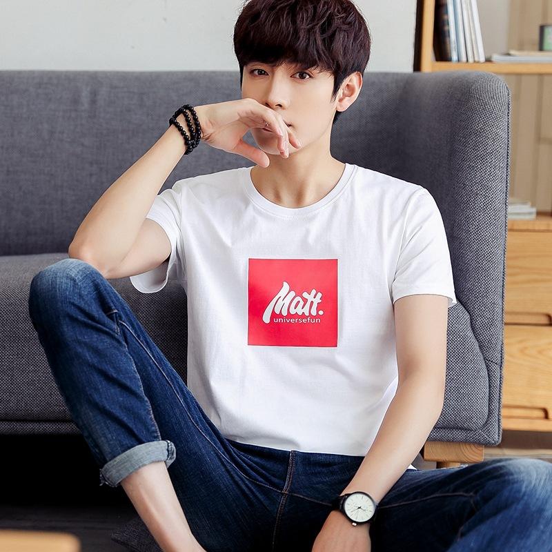 夏季新款男士短袖T恤潮流青年体恤韩版半袖圆领上衣