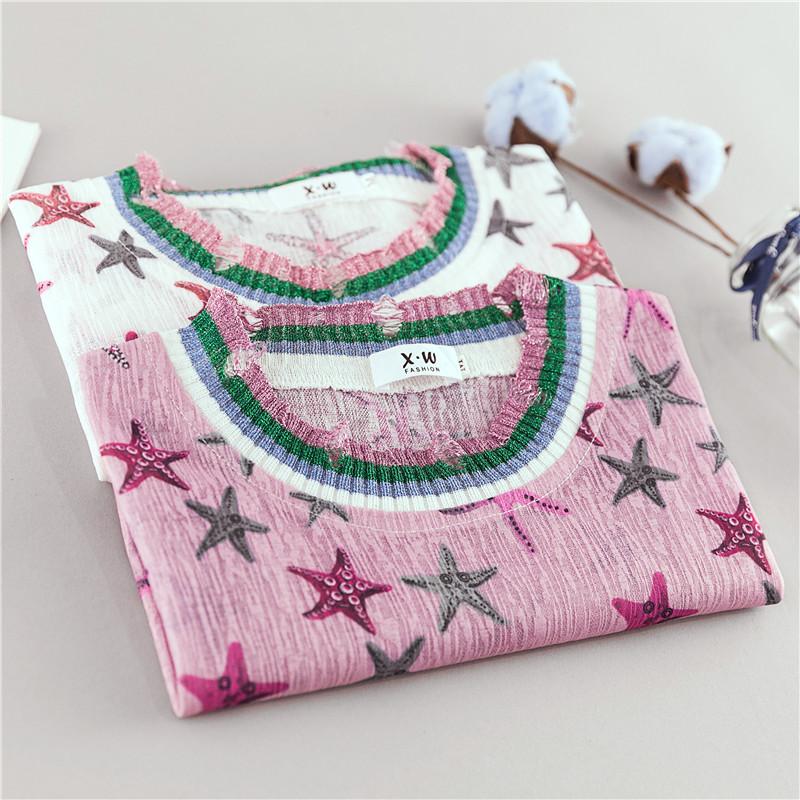 1709 实拍大码女装新款胖MM海星印花短袖T恤