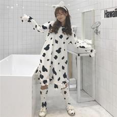 实拍实价6689#甜美可爱奶牛加厚保暖法兰绒清新学生睡裙+保暖袜