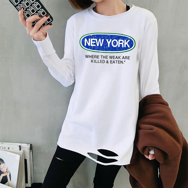 7265#春秋韩版宽松下摆破洞中长款白色T恤女印花长袖上衣