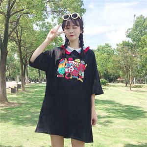 亚博娱乐平台入口实价中长款宽松娃娃领卡通印花连衣裙女学生短袖T恤裙