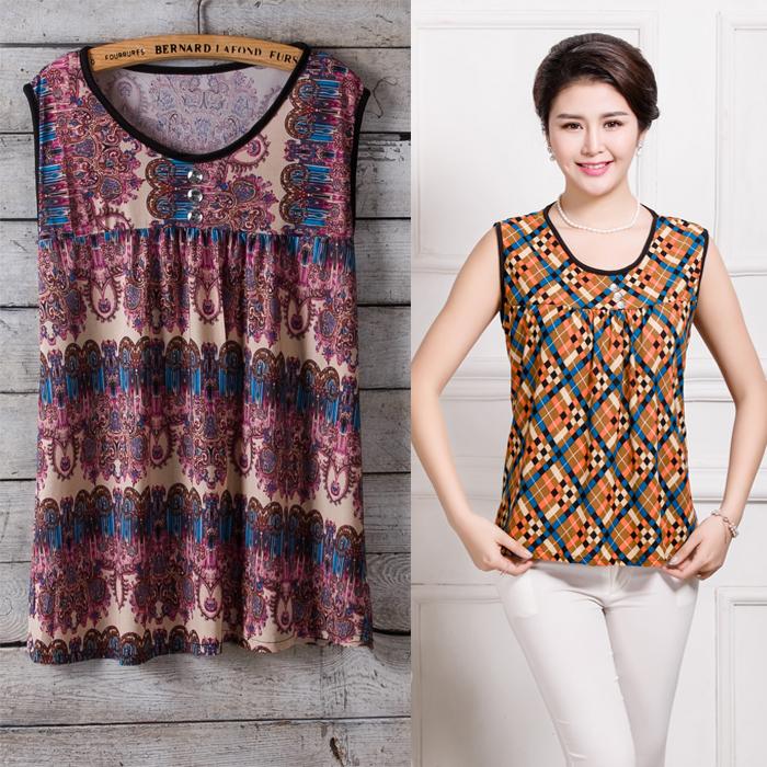 Phụ nữ trung niên không tay T-Shirt kích thước lớn mẹ nạp mùa hè vest mỏng bà già nạp vest vest