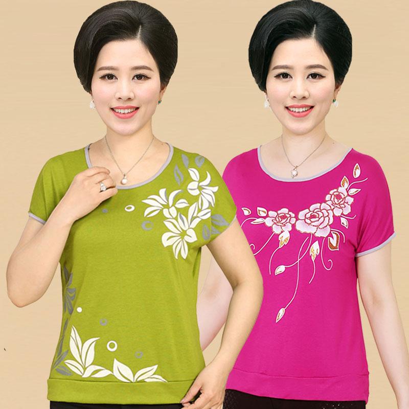 Phụ nữ trung niên mẹ ăn mặc mùa hè ngắn tay lỏng T-Shirt dì áo len áo len phương thức 40-50 tuổi