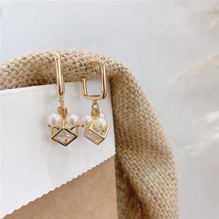 925银针耳坠珍珠耳钉方形镂空水晶耳环
