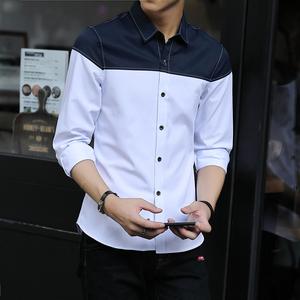 长袖衬衫男2018春季新款男士拼接衬衣韩版潮流个性寸衫青少年890