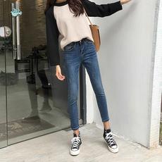 2018春季高腰chic牛仔裤女九分裤黑色紧身显瘦灰色八分小脚铅笔裤