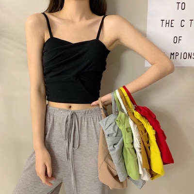 taobao agent Camisole female outer wear Korean version with chest pad bottoming tube top Xia Mei back black short top in trendy net red hot style