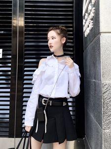 CHICYOU trắng thiết kế thích hợp bất đối xứng khâu nấm side máy semi-outcropping hoang dã dài tay áo sơ mi
