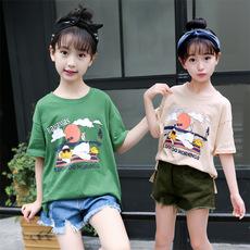 夏装女童中大童短袖T恤上衣儿童卡通印花纯棉T恤120-160码181168