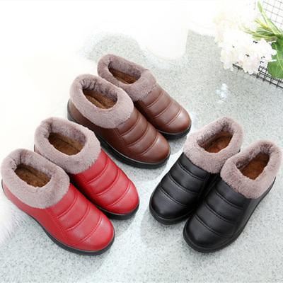老北京布鞋女鞋女棉鞋加厚加绒棉靴防滑软底PU皮面防水妈妈鞋孕妇