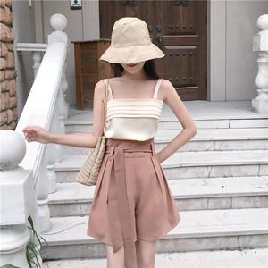 6073实拍 韩国chic时髦古着感百褶小吊带背心+显瘦高腰阔腿裤短裤