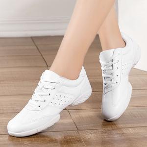 Athletic dance giày giày của phụ nữ tất cả các màu trắng da vuông khiêu vũ sneakers nữ thể dục thể dục dụng cụ thể dục nhịp điệu cổ vũ giày khiêu vũ