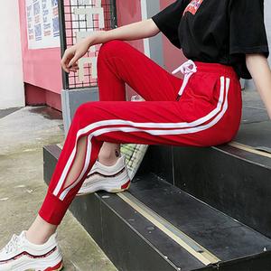 实拍2018新款九分小脚怪味少女超火的开叉显瘦休闲运动长裤子女夏