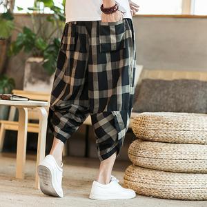 Mùa hè quần linen nam cộng với phân bón XL bảy quần lỏng mỏng quần âu Harlan Trung Quốc phong cách cotton quần linen