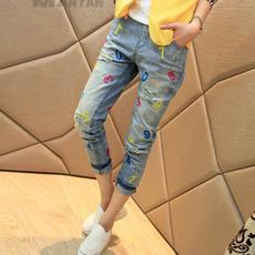 韩版时尚百搭数字小脚牛仔裤孕妇托腹牛仔裤003