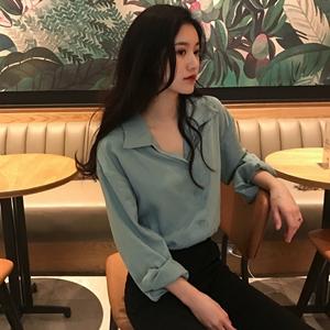 Áo sơ mi nữ 2018 new chic Hàn Quốc đơn giản màu rắn V-Cổ thẳng hoang dã mỏng dài tay áo ngực đơn