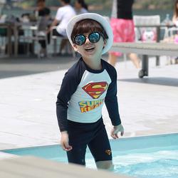 韩国儿童泳衣男童泳裤套装男孩中大童分体游泳衣宝宝长袖防晒泳装