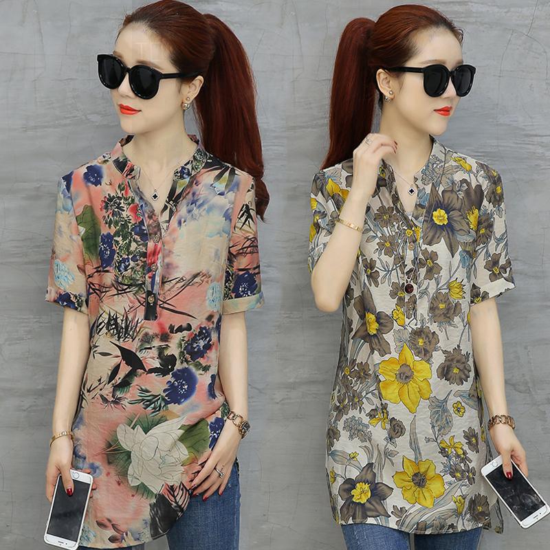 Phần dài áo thun voan hoa phụ nữ mùa xuân và mùa hè 2018 mới ngắn tay Hàn Quốc phiên bản của siêu cổ tích bao gồm bụng là quần áo mỏng