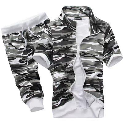 Mùa hè mỏng nam thời trang thể thao giản dị bảy quần short phù hợp với Hàn Quốc phiên bản của tự trồng kích thước lớn ngụy trang quần bộ 3/4 Jeans