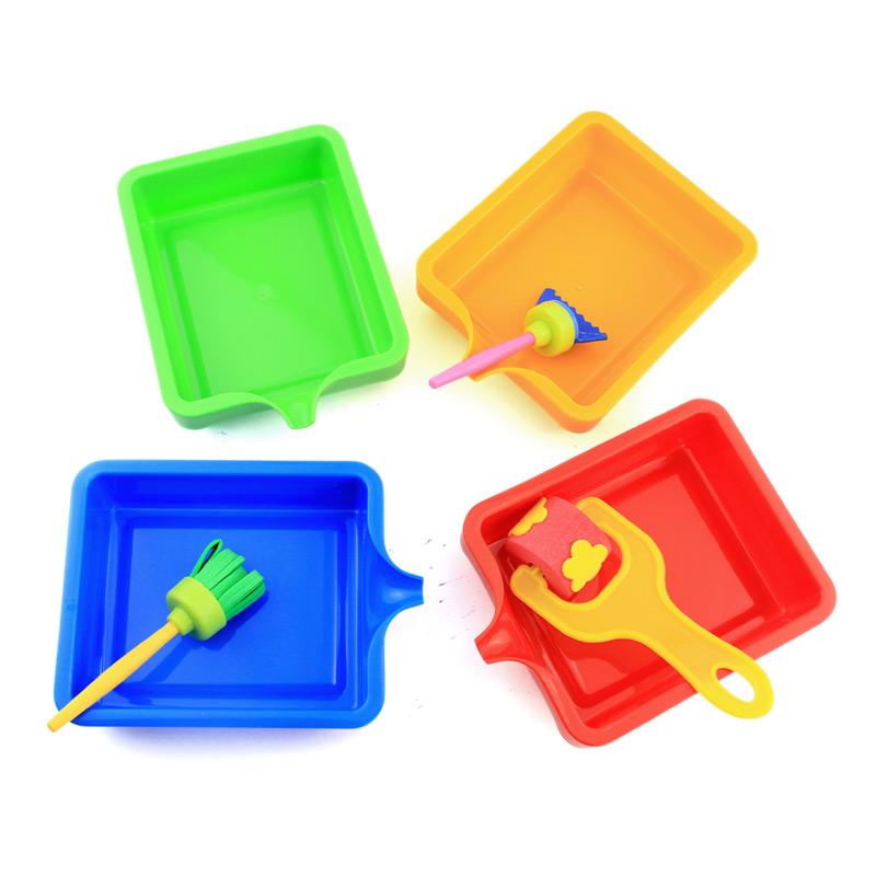 Mẫu giáo giáo dục sớm tổ chức bốn màu khay sơn DIY nguồn cung cấp bức tranh cốc nhựa tip miệng màu lon 4