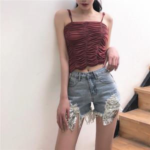 實拍~韓國chic個性亮片口袋破洞牛仔短褲女#5021