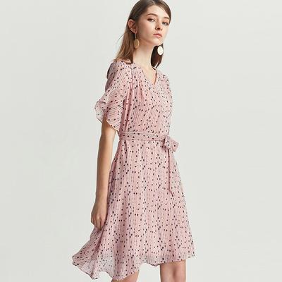 [Giá mới 139 nhân dân tệ] Con chuồn chuồn màu tím 2018 mùa hè mới dài V Vest chấm không thường xuyên ăn mặc Sản phẩm HOT