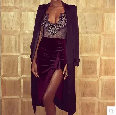 外贸欧美速卖通ebay亚马逊爆款性感纯色丝绒不规则包臀半身裙8225
