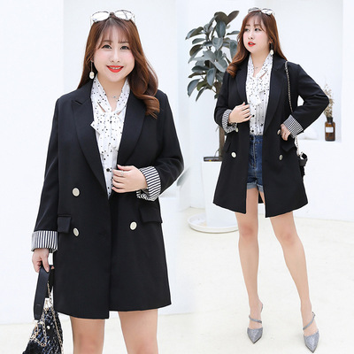 42agent Large size suit jacket female fat mm sister 200 kg casual slimming color Yangqi Korean version of the suit 2019 early spring - Taobao