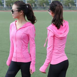 Nhanh khô thể thao áo khoác nữ dài tay yoga quần áo trùm đầu chạy thể dục quần áo dây kéo cardigan Slim jacket 0.3 kg