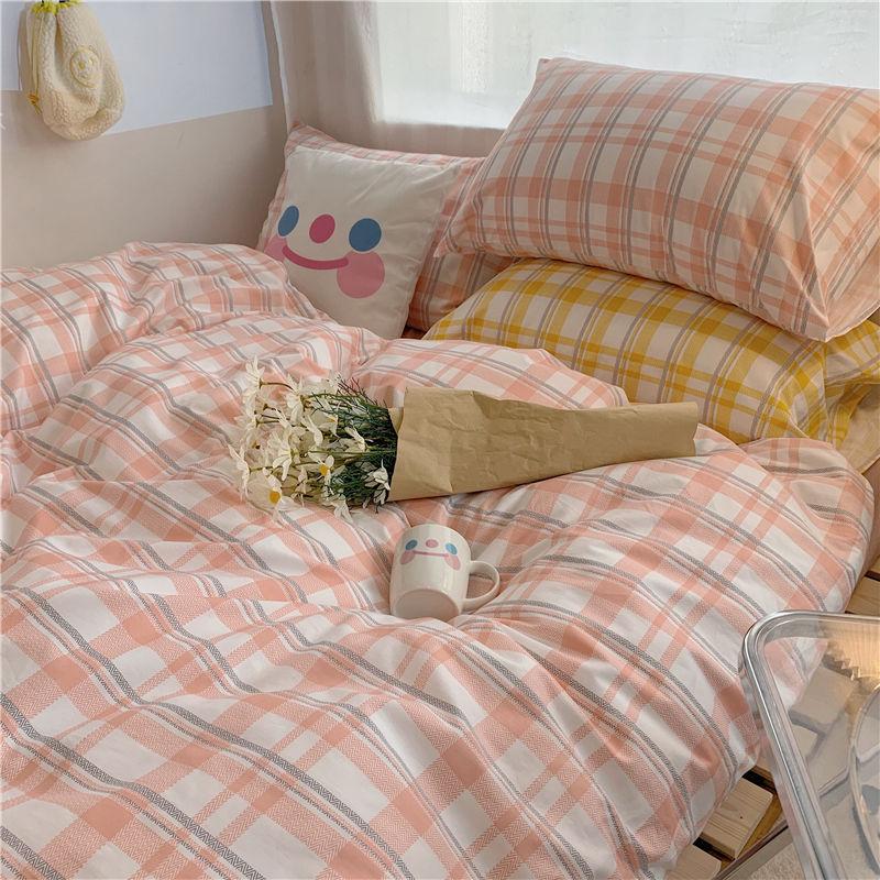 INS风淑女格子床上用品四件套简约被套少女心被单床单寝室4三件套