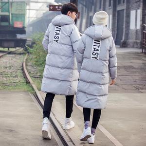 Mùa đông bông áo khoác Hàn Quốc phiên bản của mỏng mỏng áo khoác nam giới và phụ nữ trong phần dài của đầu gối đội mũ trùm đầu xuống áo khoác bông áo khoác nam