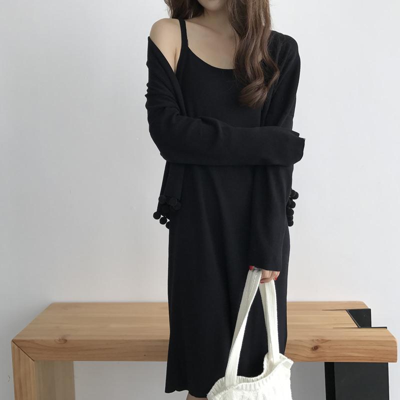 实拍质检 春季新款 时尚毛线连衣裙+针织开衫外套两件套 1008#