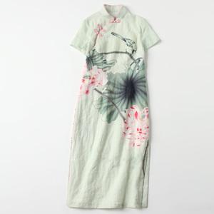 Mua một mặt hàng duy nhất lúc 9:30 ngày 23 tháng 7: Hoa không in hoa tùy chỉnh in kỹ thuật số và nhuộm vải sườn xám đầm
