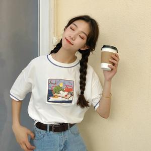 实拍实价已检~学院风百搭个性贴布印花T恤~9021#