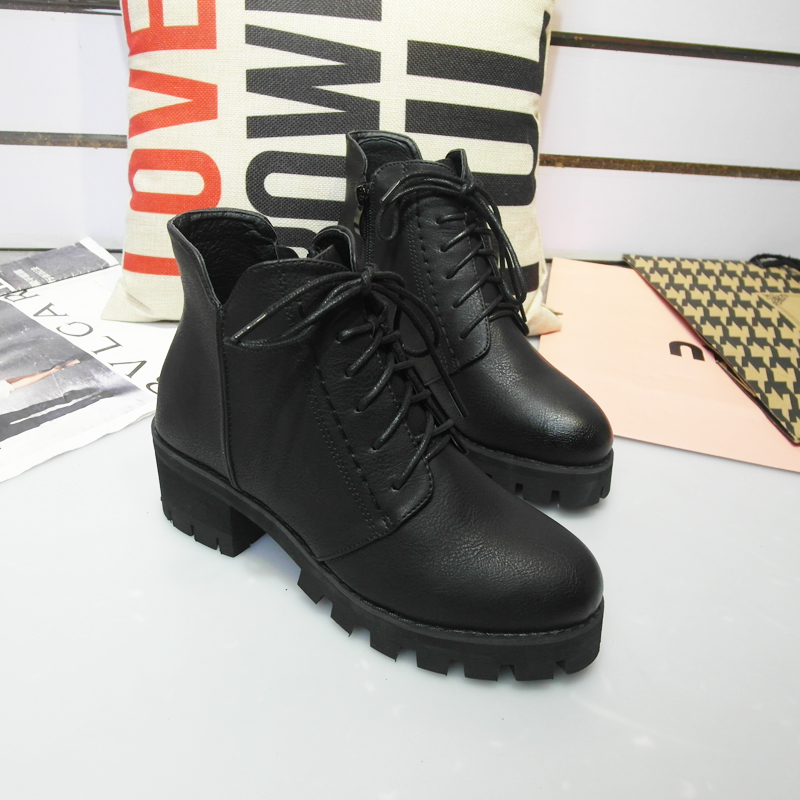 2016冬季新款前系带单鞋圆头粗跟短靴高跟侧拉链靴子