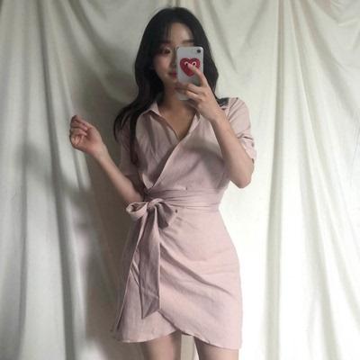 Hàn Quốc sang trọng gõ khí ~ một bọc váy polo cổ áo siêu cổ tích eo nhẹ nhàng váy váy đầm