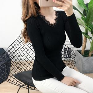 【实拍】1095韩版时尚V领拼接蕾丝长袖百搭修身显瘦针织衫女毛衣