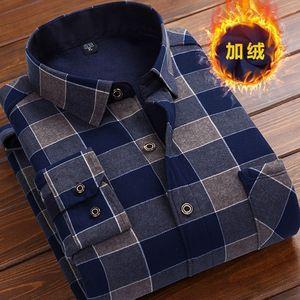秋冬季男士加绒加厚保暖衬衫长袖中老年格子印花衬衣休闲大码男装